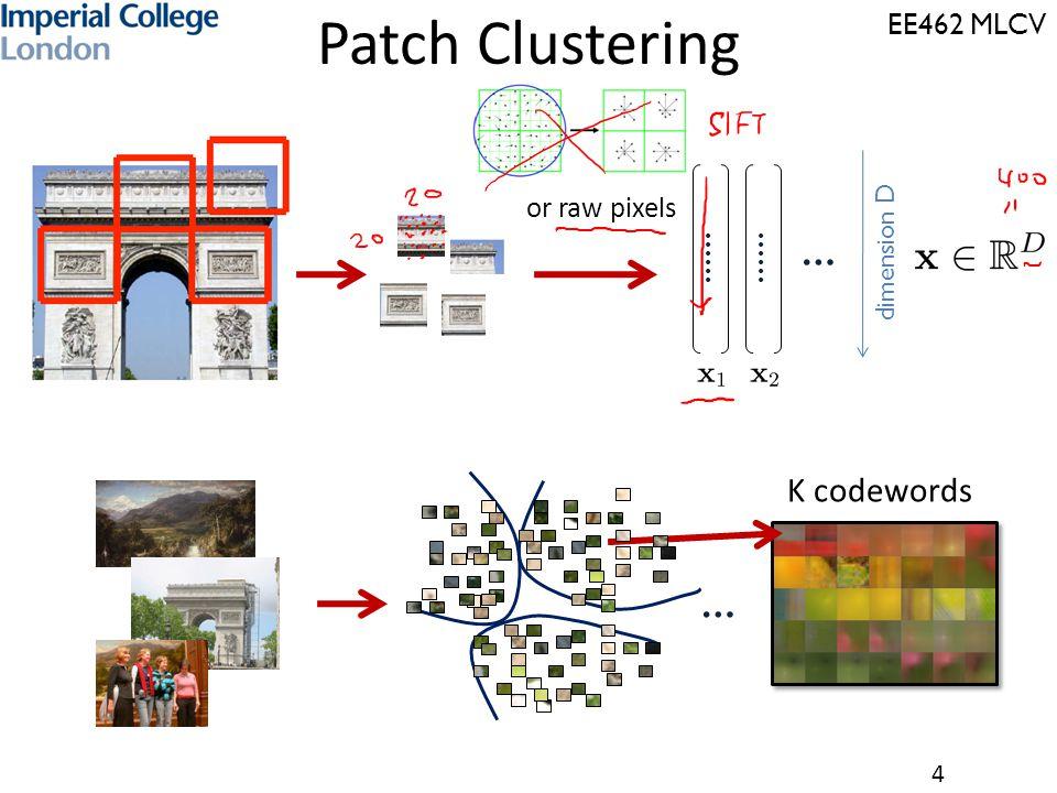 EE462 MLCV 4 dimension D … …… or raw pixels … K codewords Patch Clustering