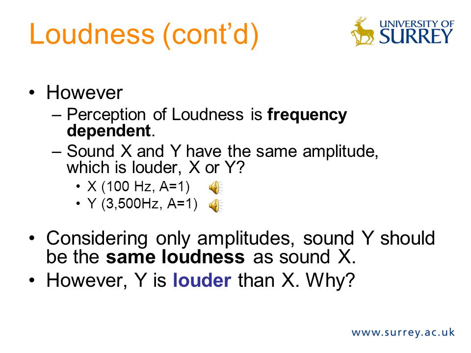 Perception of Loudness Correlated with amplitude. Here: –constant frequency (f0=440Hz) –Varying amplitude (A = 0.2, 0.5 or 1.0)