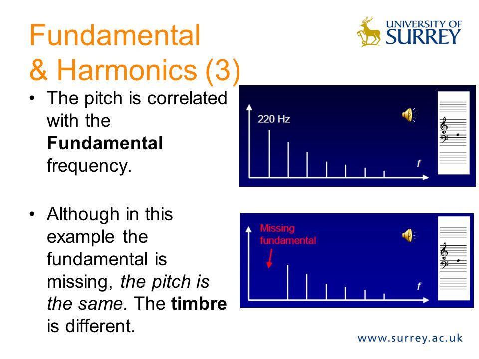Fundamental & Harmonics (2) Fundamental f0 First harmonic f1 = 2*f0 Second harmonic f2 = 3*f0 Third harmonic f3 = 4*f0 Seventh harmonic f7 = 7*f0...