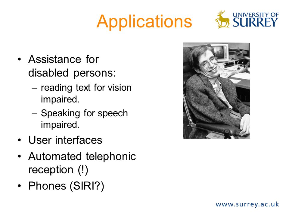 Approaches to speech synthesis Concatenative: string bits of recorded speech) Unit selection: large database of recorded speech, split into phones, diphones, syllabes, etc.