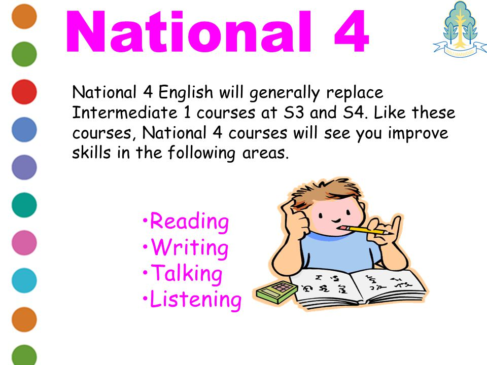 National 4 English will generally replace Intermediate 1 courses at S3 and S4.