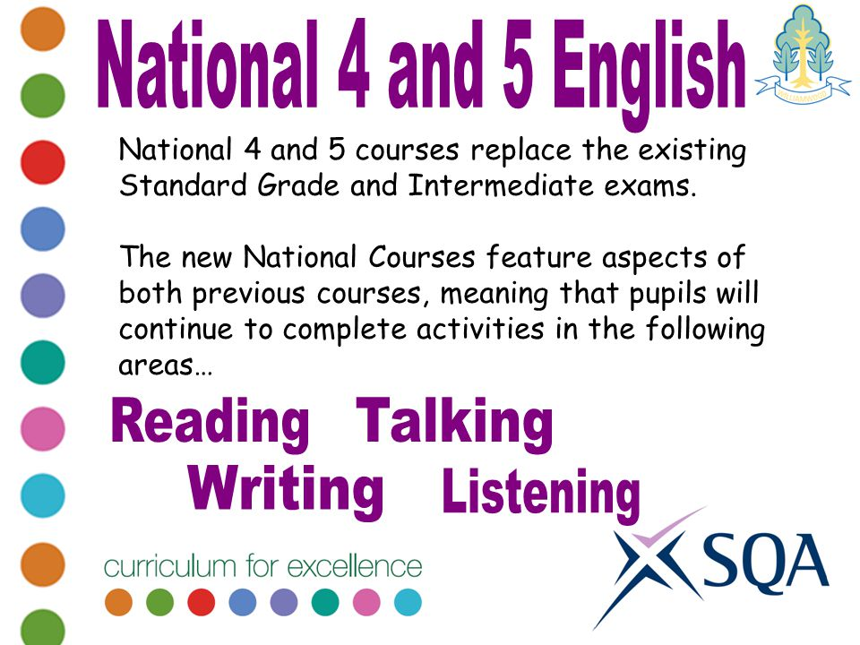 National 4 and 5 courses replace the existing Standard Grade and Intermediate exams.