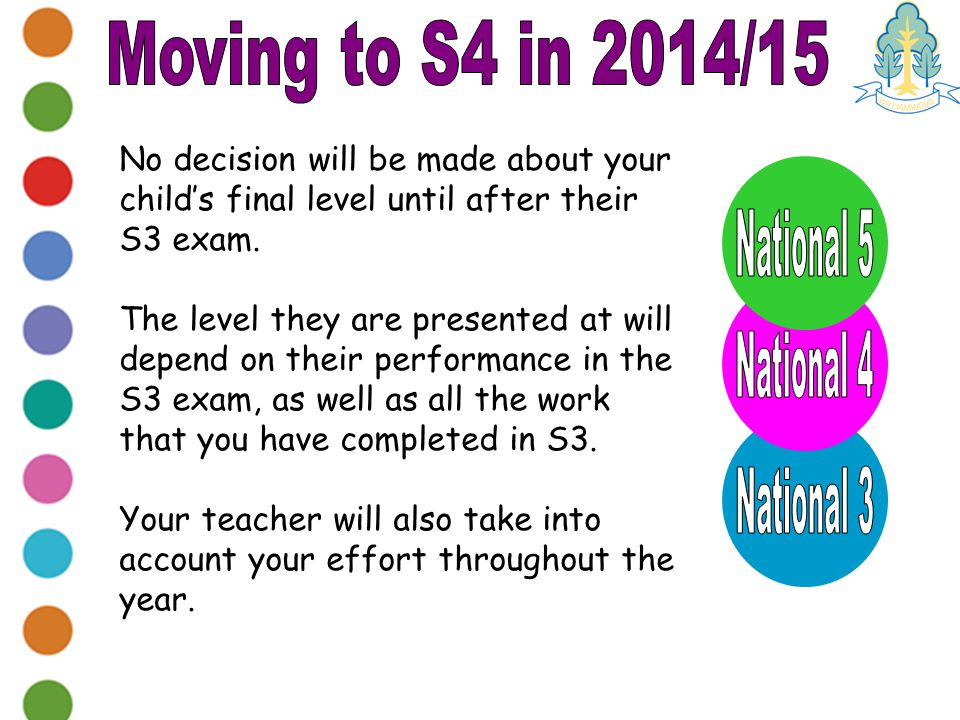 No decision will be made about your child's final level until after their S3 exam.