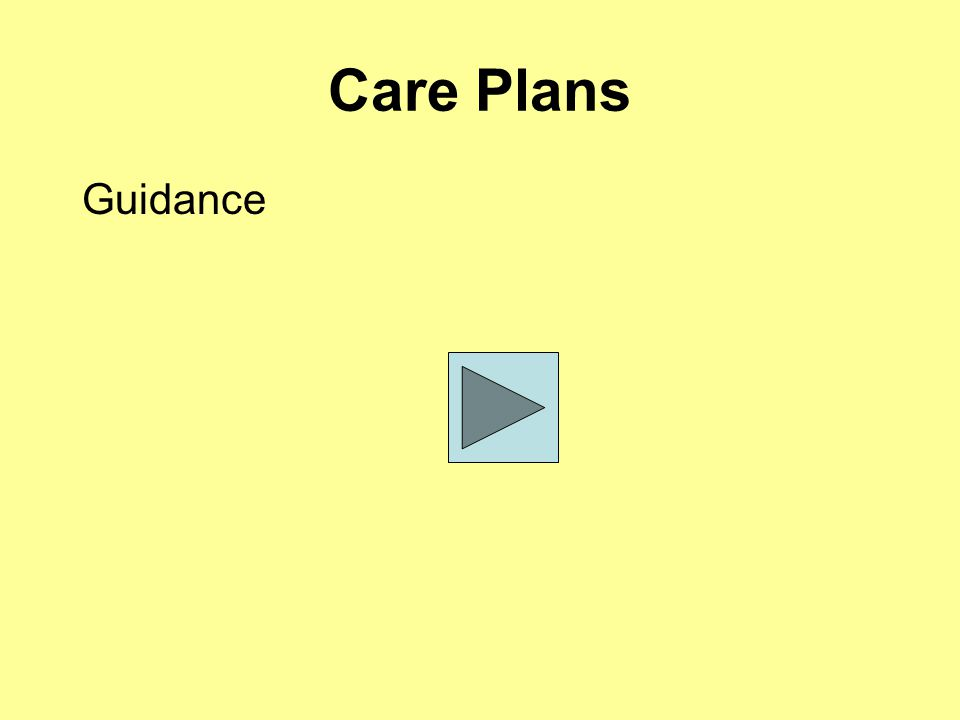 Care Plans Guidance