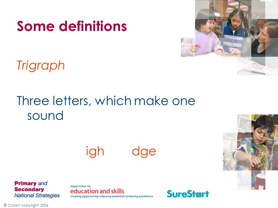 © Crown copyright 2006 Some definitions Trigraph Three letters, which make one sound igh dge