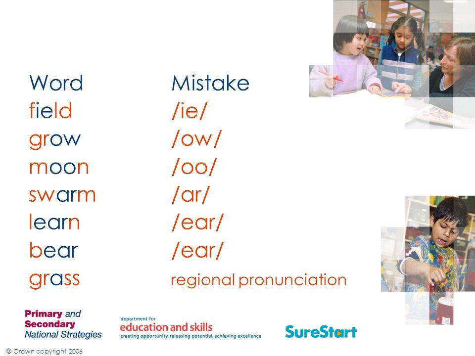 © Crown copyright 2006 WordMistake field/ie/ grow/ow/ moon/oo/ swarm/ar/ learn/ear/ bear/ear/ grass regional pronunciation