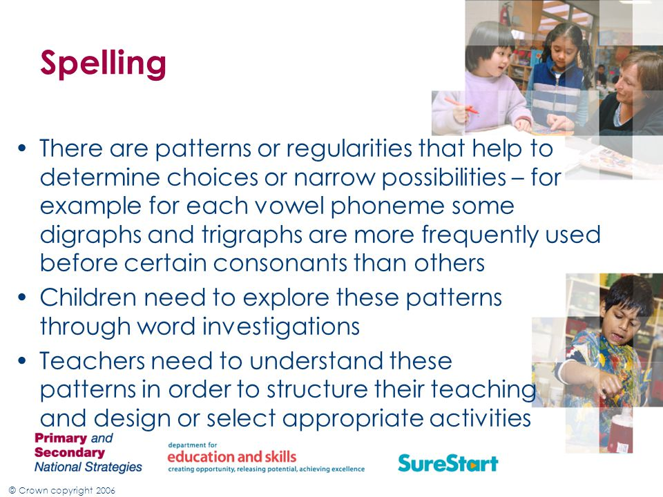 © Crown copyright 2006 Spelling There are patterns or regularities that help to determine choices or narrow possibilities – for example for each vowel phoneme some digraphs and trigraphs are more frequently used before certain consonants than others Children need to explore these patterns through word investigations Teachers need to understand these patterns in order to structure their teaching and design or select appropriate activities