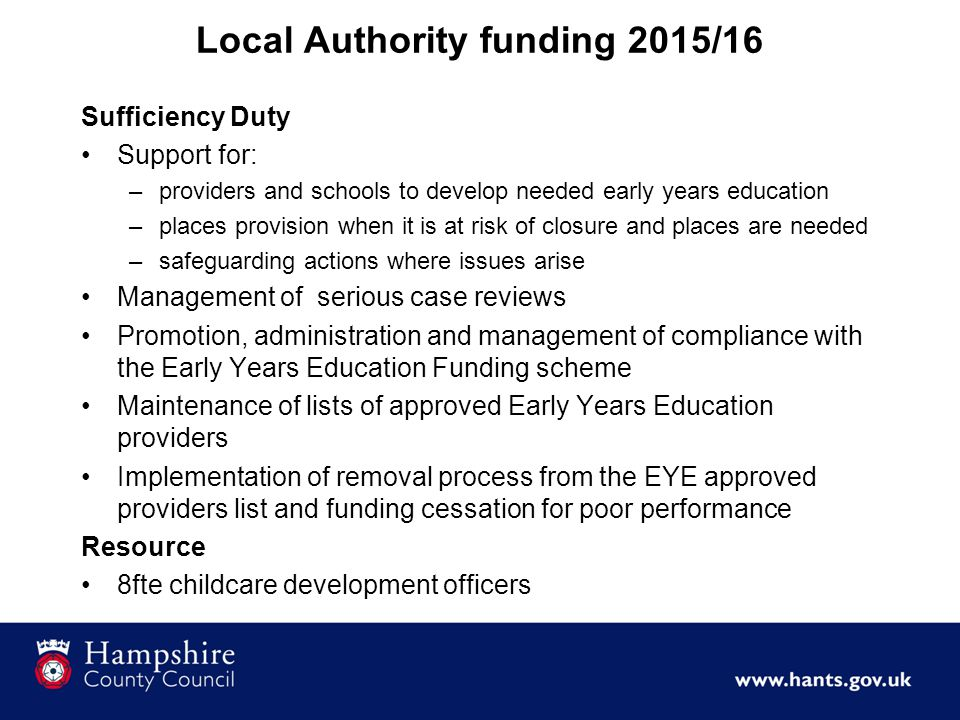 Local Authority funding 2015/16 Sufficiency Duty Support for: –providers and schools to develop needed early years education –places provision when it is at risk of closure and places are needed –safeguarding actions where issues arise Management of serious case reviews Promotion, administration and management of compliance with the Early Years Education Funding scheme Maintenance of lists of approved Early Years Education providers Implementation of removal process from the EYE approved providers list and funding cessation for poor performance Resource 8fte childcare development officers