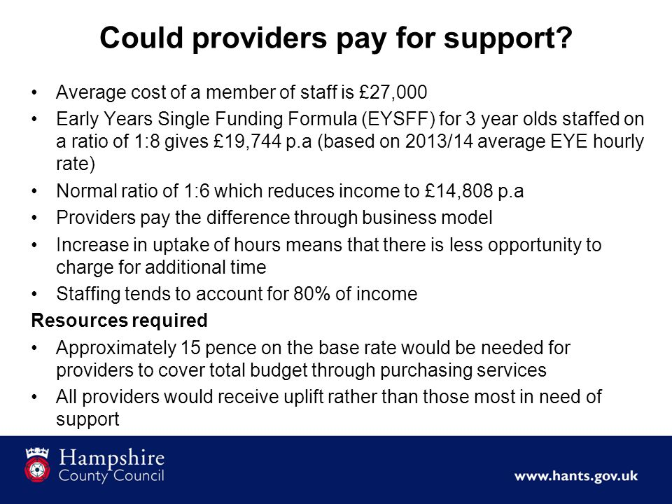 Could providers pay for support.