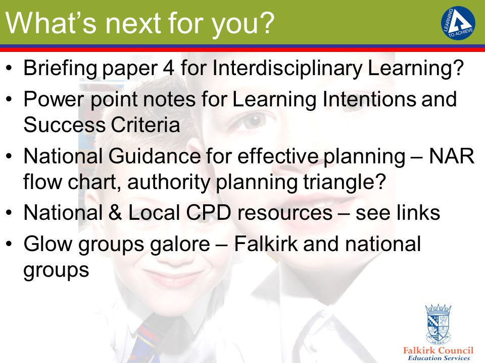 What's next for you. Briefing paper 4 for Interdisciplinary Learning.