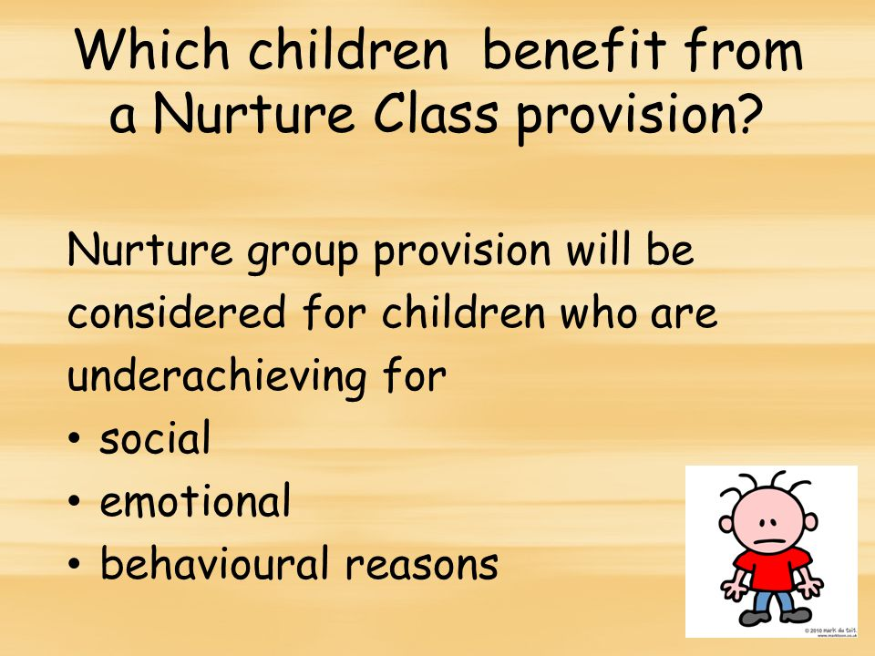 Which children benefit from a Nurture Class provision.