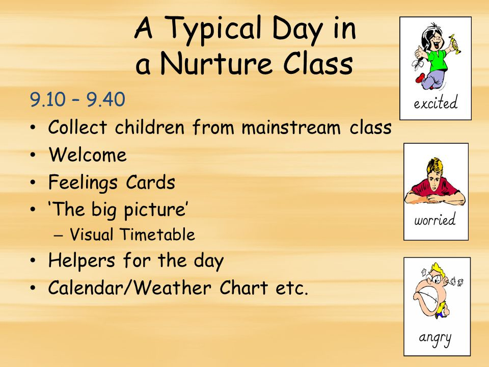 A Typical Day in a Nurture Class 9.10 – 9.40 Collect children from mainstream class Welcome Feelings Cards 'The big picture' – Visual Timetable Helpers for the day Calendar/Weather Chart etc.