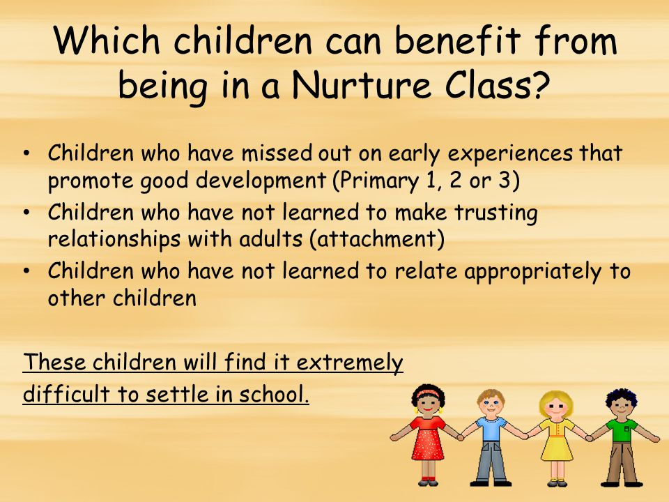 Which children can benefit from being in a Nurture Class.