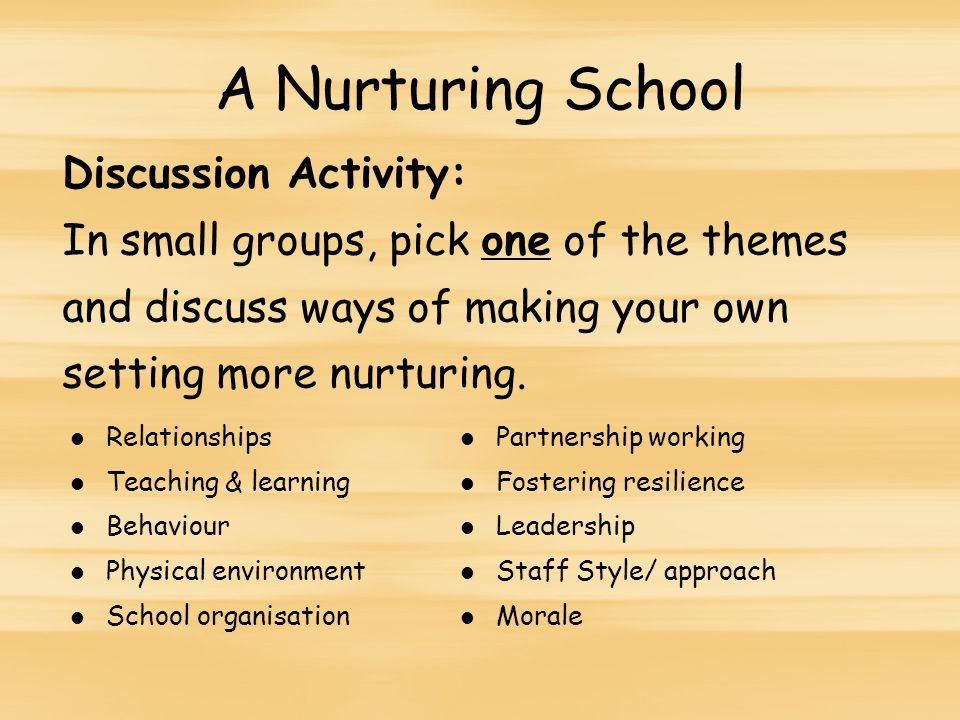 A Nurturing School Discussion Activity: In small groups, pick one of the themes and discuss ways of making your own setting more nurturing.