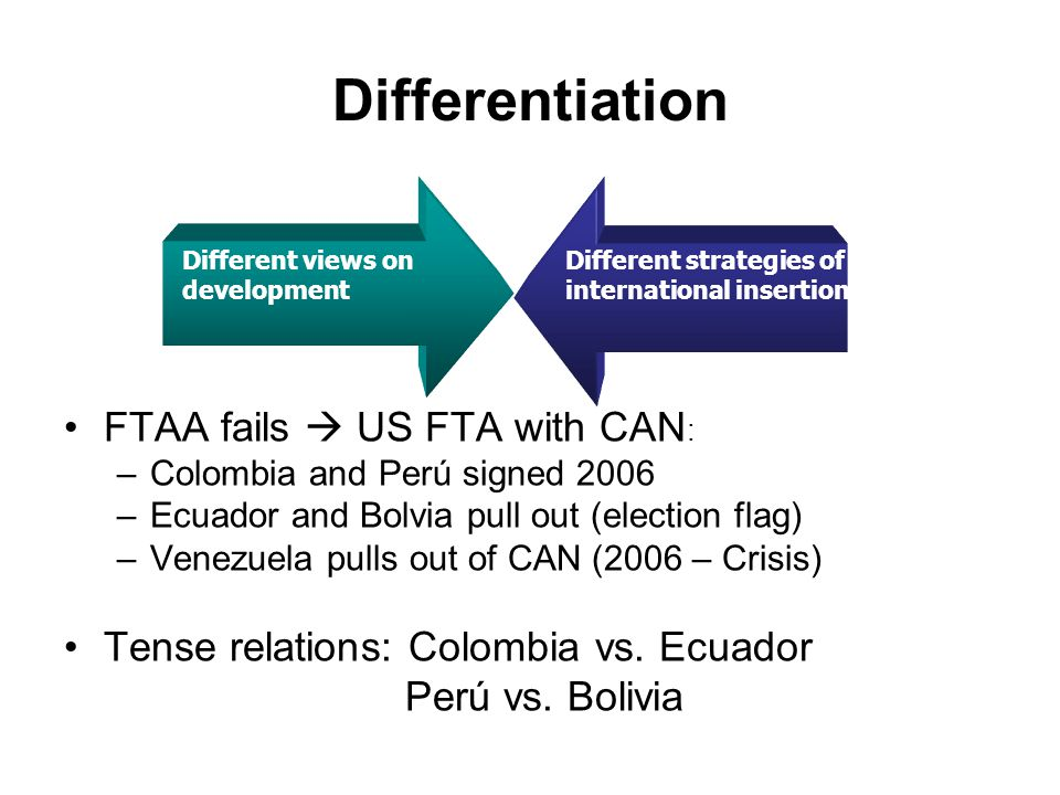 Differentiation FTAA fails  US FTA with CAN : –Colombia and Perú signed 2006 –Ecuador and Bolvia pull out (election flag) –Venezuela pulls out of CAN (2006 – Crisis) Tense relations: Colombia vs.