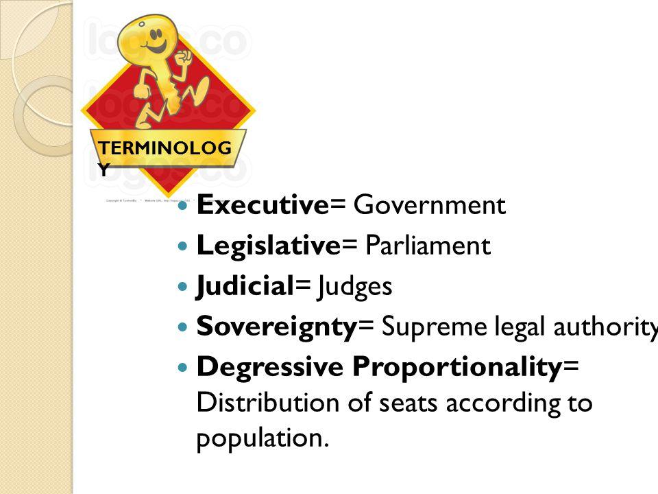 Executive= Government Legislative= Parliament Judicial= Judges Sovereignty= Supreme legal authority Degressive Proportionality= Distribution of seats