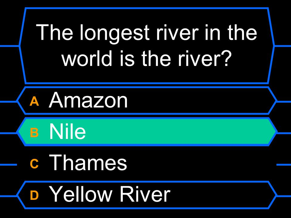 The longest river in the world is the river A Amazon B Nile C Thames D Yellow River