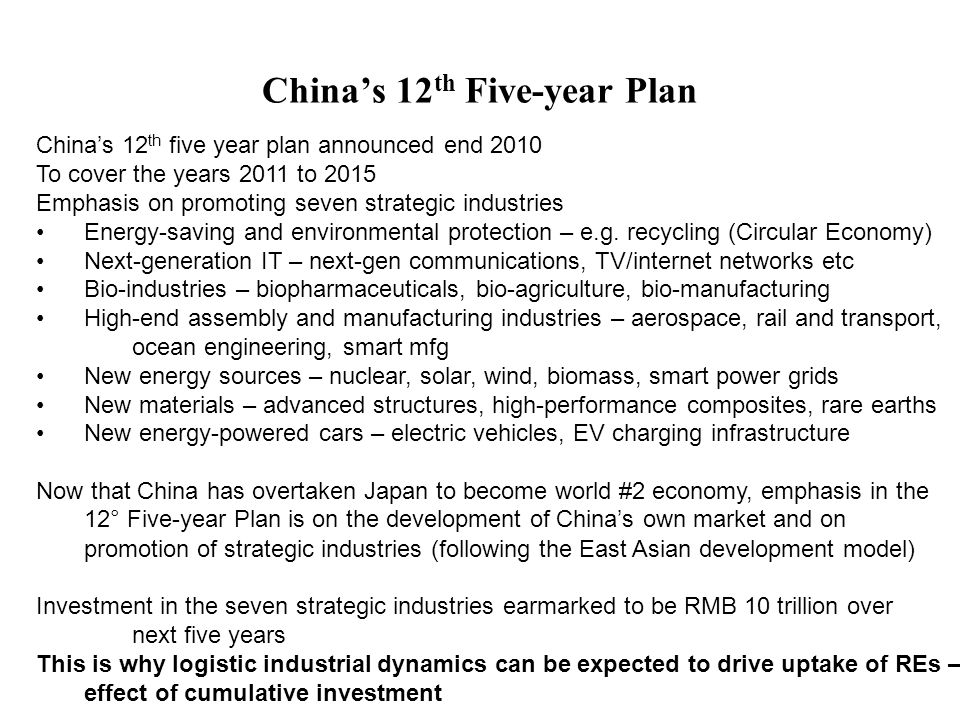 China's 12 th Five-year Plan China's 12 th five year plan announced end 2010 To cover the years 2011 to 2015 Emphasis on promoting seven strategic industries Energy-saving and environmental protection – e.g.