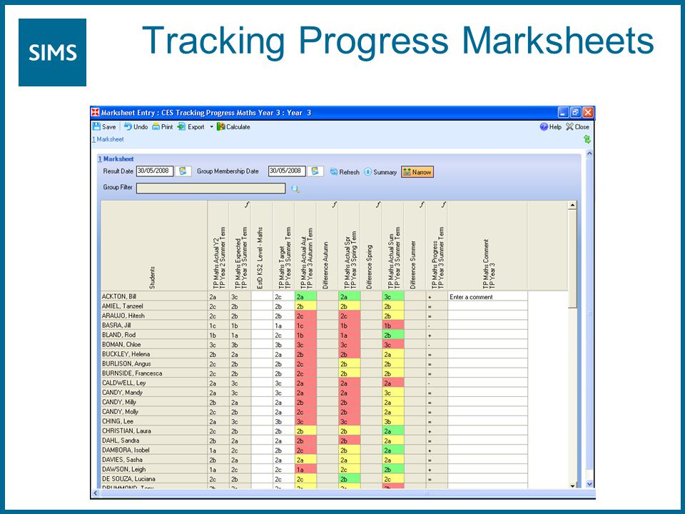 Tracking Progress Marksheets