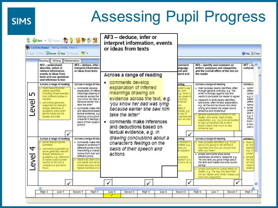 Assessing Pupil Progress