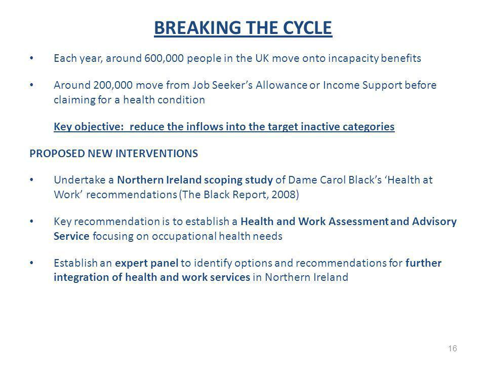BREAKING THE CYCLE Each year, around 600,000 people in the UK move onto incapacity benefits Around 200,000 move from Job Seeker's Allowance or Income Support before claiming for a health condition Key objective: reduce the inflows into the target inactive categories PROPOSED NEW INTERVENTIONS Undertake a Northern Ireland scoping study of Dame Carol Black's 'Health at Work' recommendations (The Black Report, 2008) Key recommendation is to establish a Health and Work Assessment and Advisory Service focusing on occupational health needs Establish an expert panel to identify options and recommendations for further integration of health and work services in Northern Ireland 16