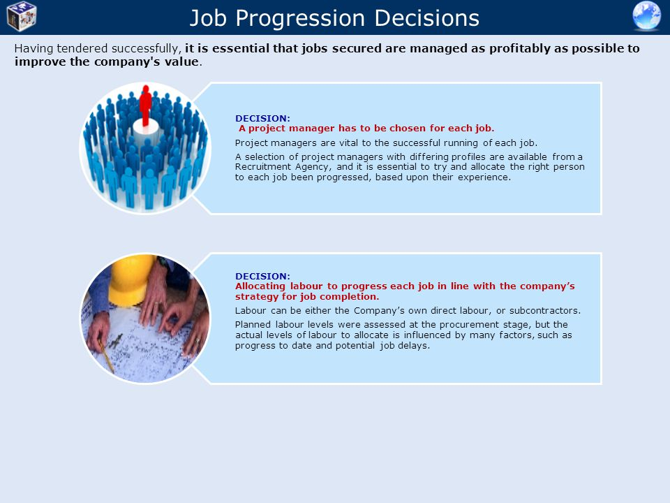 Job Progression Decisions Having tendered successfully, it is essential that jobs secured are managed as profitably as possible to improve the company