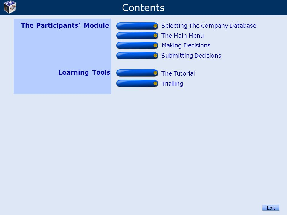 Contents Exit Learning Tools The Tutorial Trialling The Participants' Module Selecting The Company Database Submitting Decisions The Main Menu Making