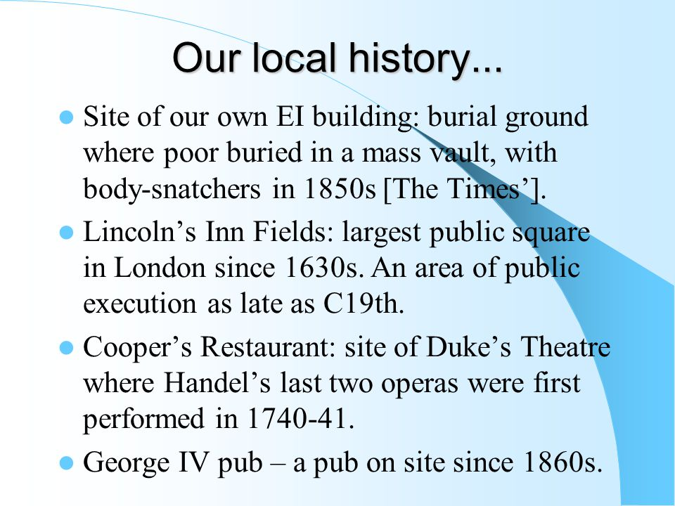 Our local history...