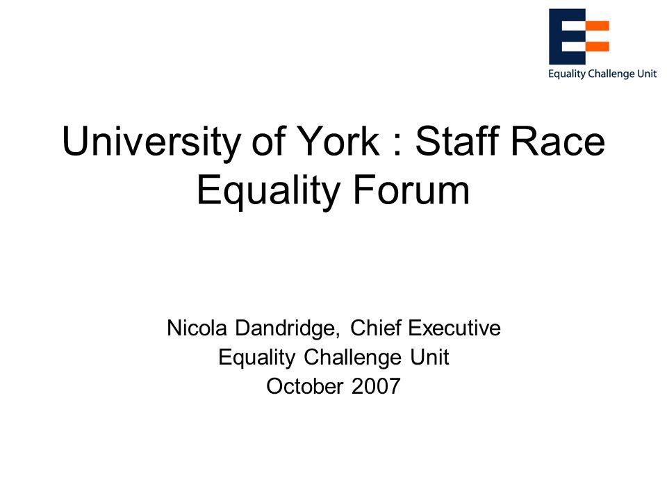 University of York : Staff Race Equality Forum Nicola Dandridge, Chief Executive Equality Challenge Unit October 2007