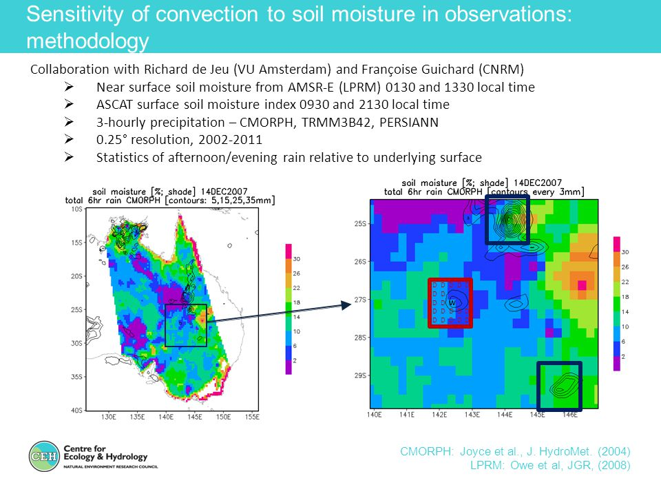 Sensitivity of convection to soil moisture in observations: methodology CMORPH: Joyce et al., J. HydroMet. (2004) LPRM: Owe et al, JGR, (2008) Collabo