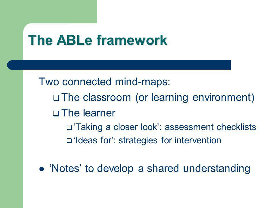 The ABLe framework Two connected mind-maps:  The classroom (or learning environment)  The learner  'Taking a closer look': assessment checklists  'Ideas for': strategies for intervention 'Notes' to develop a shared understanding