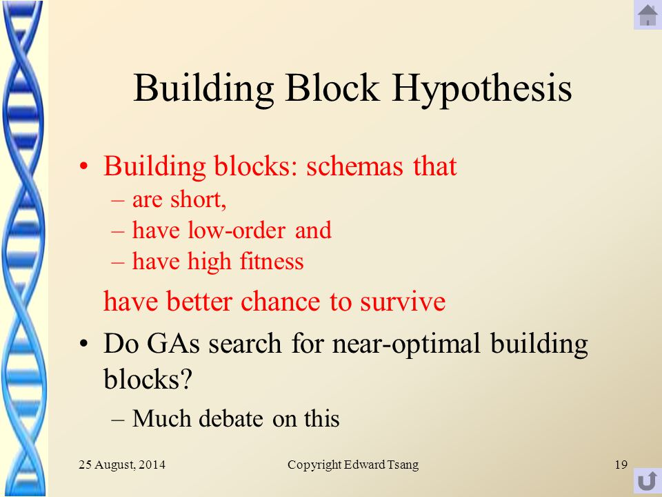 25 August, 2014Copyright Edward Tsang19 Building Block Hypothesis Building blocks: schemas that –are short, –have low-order and –have high fitness have better chance to survive Do GAs search for near-optimal building blocks.