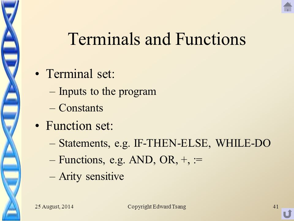25 August, 2014Copyright Edward Tsang41 Terminals and Functions Terminal set: –Inputs to the program –Constants Function set: –Statements, e.g.