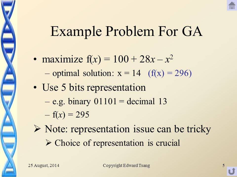 25 August, 2014Copyright Edward Tsang5 Example Problem For GA maximize f(x) = x – x 2 –optimal solution: x = 14 (f(x) = 296) Use 5 bits representation –e.g.