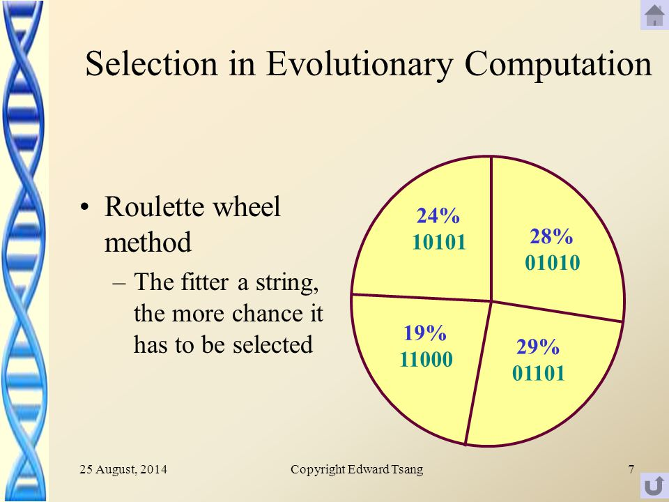 25 August, 2014Copyright Edward Tsang7 Selection in Evolutionary Computation Roulette wheel method –The fitter a string, the more chance it has to be selected 24% 10101 28% 01010 29% 01101 19% 11000