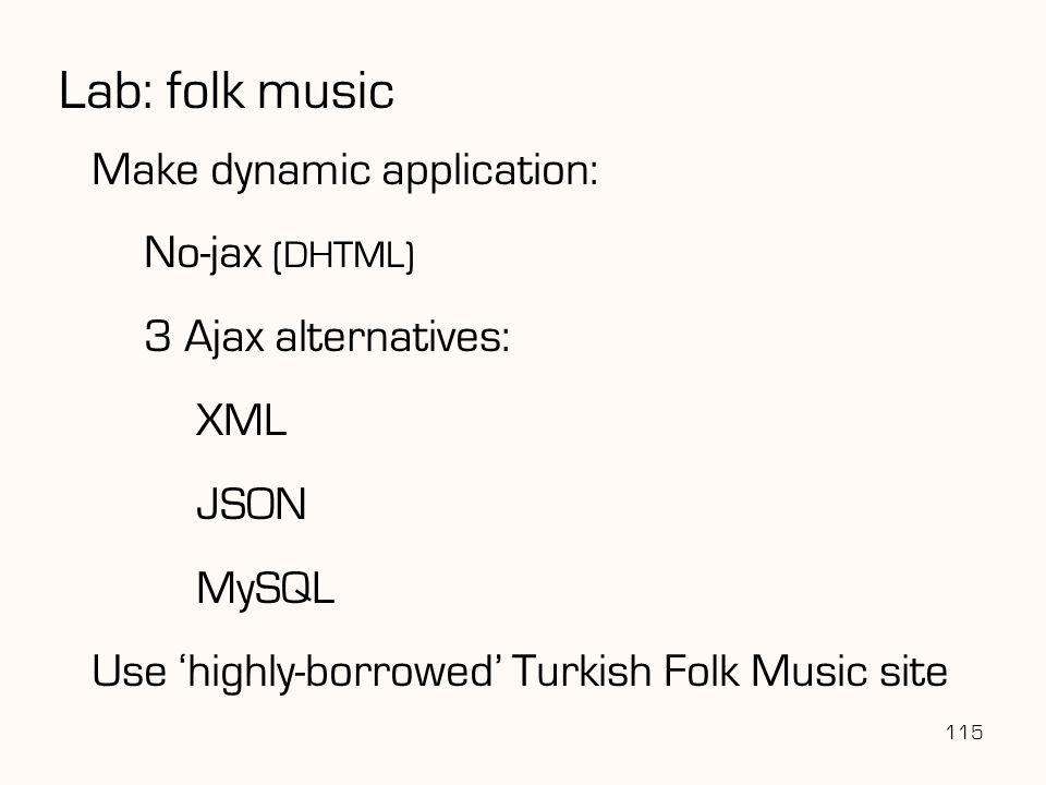 Lab: folk music 115 Make dynamic application: No-jax (DHTML) 3 Ajax alternatives: XML JSON MySQL Use 'highly-borrowed' Turkish Folk Music site