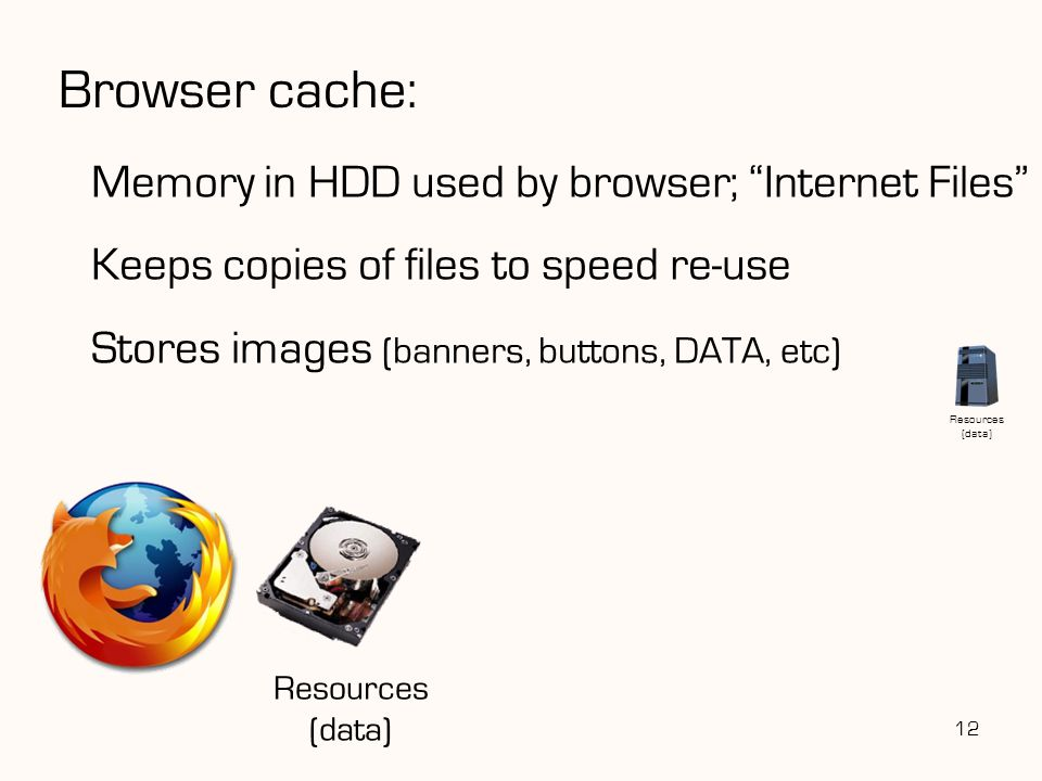 """12 Browser cache: Memory in HDD used by browser; """"Internet Files"""" Keeps copies of files to speed re-use Stores images (banners, buttons, DATA, etc) Re"""