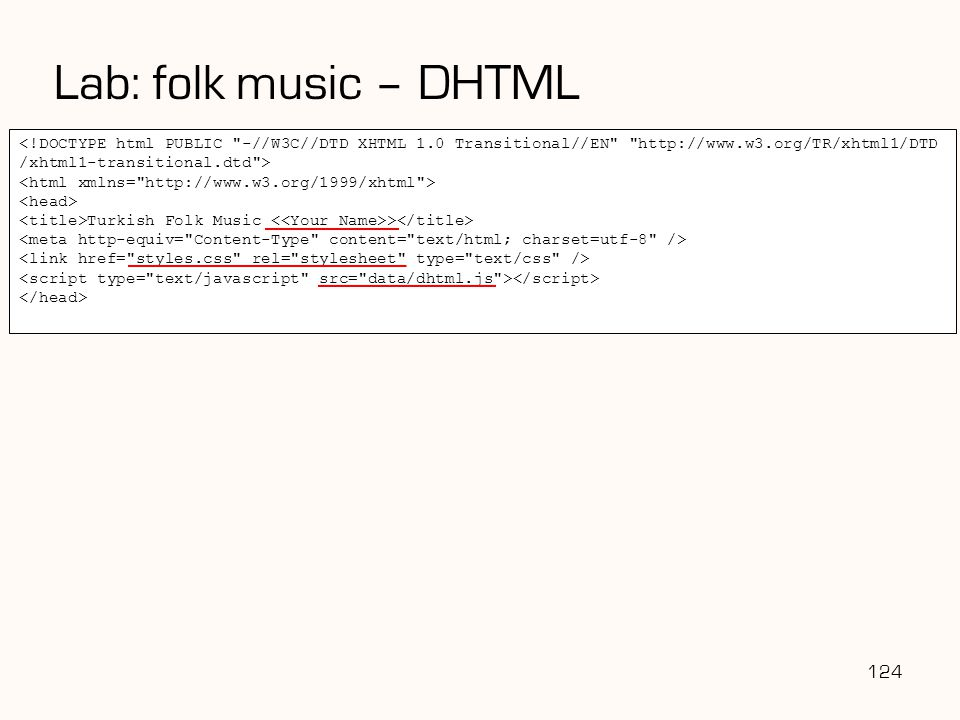 Lab: folk music – DHTML 124 <!DOCTYPE html PUBLIC