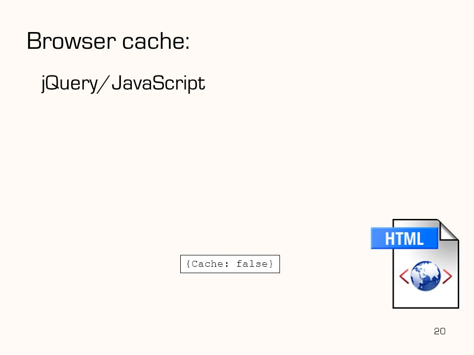 jQuery/JavaScript 20 {Cache: false} Browser cache: