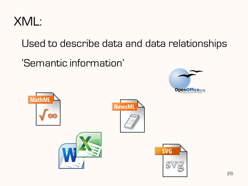 XML: Used to describe data and data relationships 'Semantic information' 26