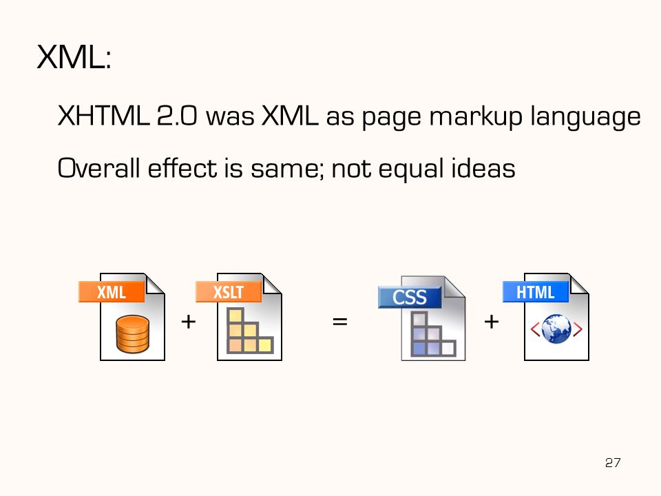 XML: XHTML 2.0 was XML as page markup language Overall effect is same; not equal ideas 27 =++
