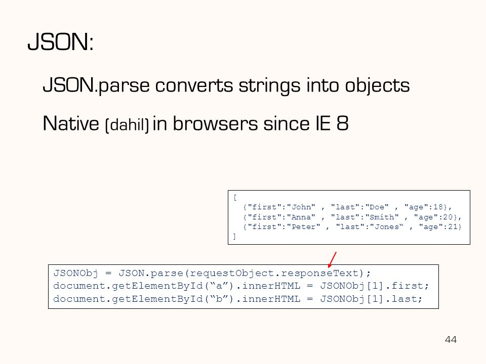 JSON: JSON.parse converts strings into objects Native (dahil) in browsers since IE 8 44 JSONObj = JSON.parse(requestObject.responseText); document.get