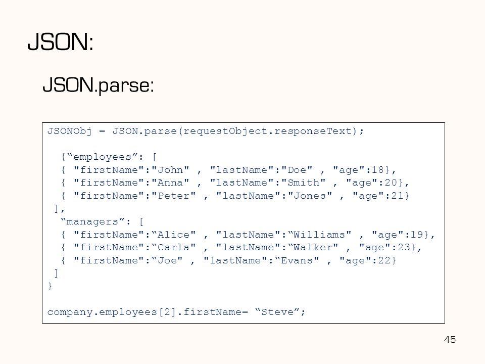 "JSON: JSON.parse: JSONObj = JSON.parse(requestObject.responseText); {""employees"": [ {"
