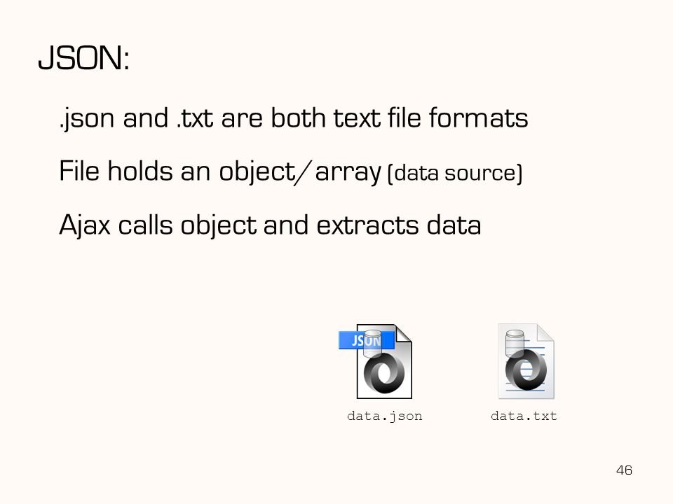 JSON:.json and.txt are both text file formats File holds an object/array (data source) Ajax calls object and extracts data 46 data.txt data.json
