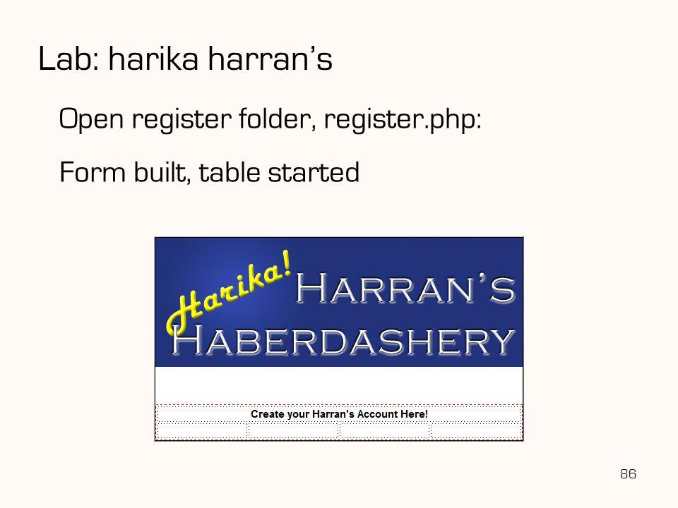 Lab: harika harran's 86 Open register folder, register.php: Form built, table started