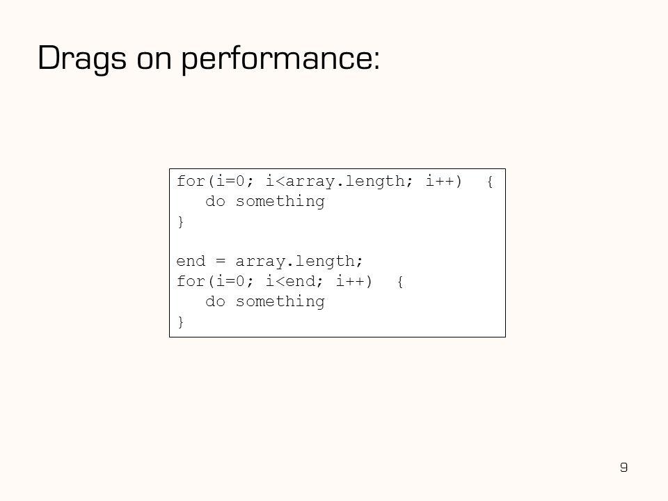Drags on performance: 9 for(i=0; i<array.length; i++) { do something } end = array.length; for(i=0; i<end; i++) { do something }