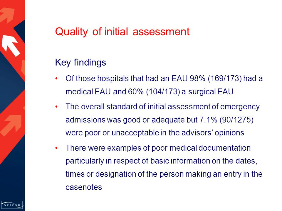 Quality of initial assessment Key findings Of those hospitals that had an EAU 98% (169/173) had a medical EAU and 60% (104/173) a surgical EAU The overall standard of initial assessment of emergency admissions was good or adequate but 7.1% (90/1275) were poor or unacceptable in the advisors' opinions There were examples of poor medical documentation particularly in respect of basic information on the dates, times or designation of the person making an entry in the casenotes
