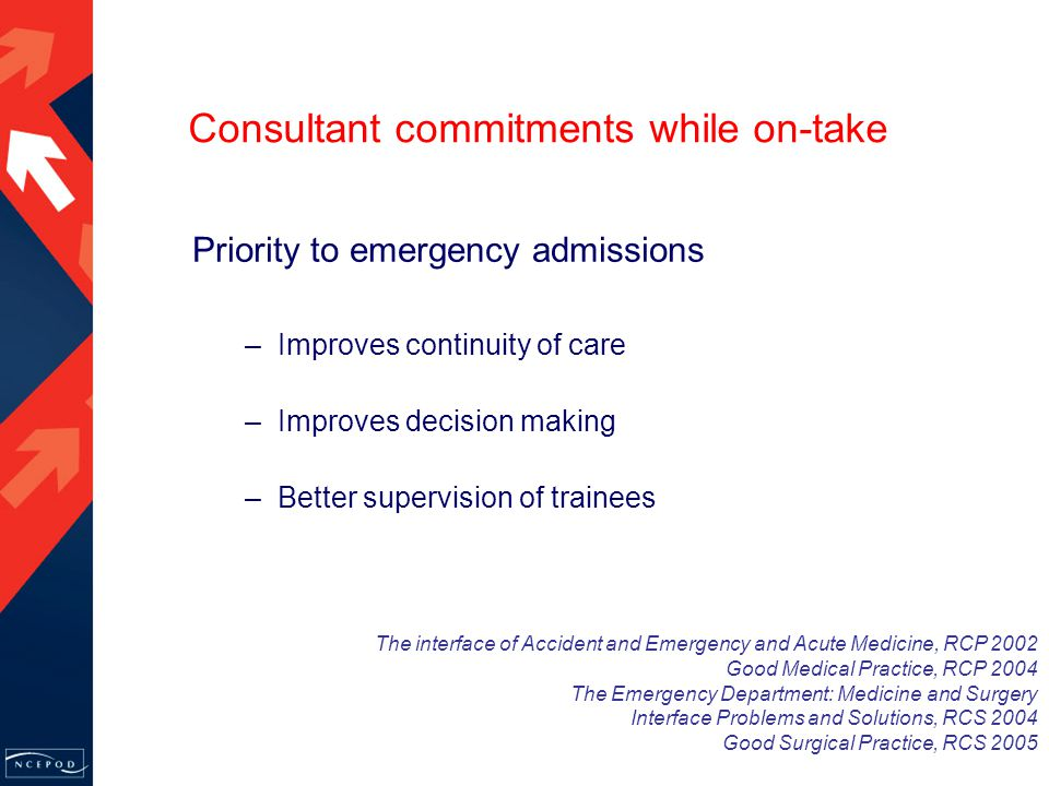 Priority to emergency admissions –Improves continuity of care –Improves decision making –Better supervision of trainees The interface of Accident and Emergency and Acute Medicine, RCP 2002 Good Medical Practice, RCP 2004 The Emergency Department: Medicine and Surgery Interface Problems and Solutions, RCS 2004 Good Surgical Practice, RCS 2005