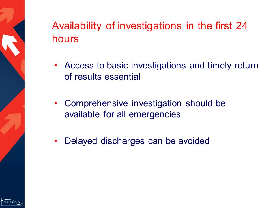 Availability of investigations in the first 24 hours Access to basic investigations and timely return of results essential Comprehensive investigation should be available for all emergencies Delayed discharges can be avoided