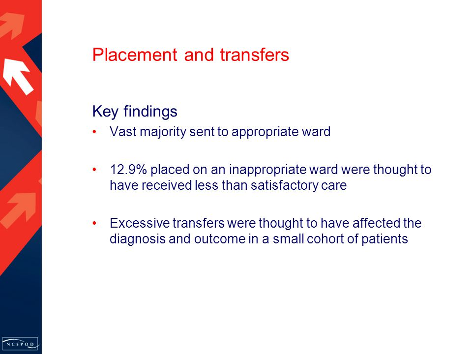 Placement and transfers Vast majority sent to appropriate ward 12.9% placed on an inappropriate ward were thought to have received less than satisfactory care Excessive transfers were thought to have affected the diagnosis and outcome in a small cohort of patients Key findings